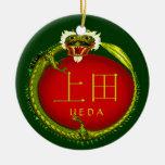 Ueda Monogram Dragon Ceramic Ornament