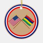 US and Mauritius Crossed Flags Ceramic Ornament
