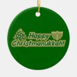 Happy Christmanukkah Ceramic Ornament