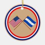 US and Honduras Crossed Flags Ceramic Ornament