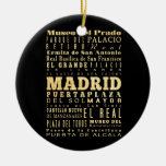 Madrid City of Spain Typography Art Ceramic Ornament