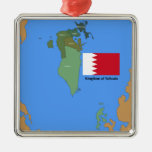 Flag and Map of the Kingdom of Bahrain Metal Ornament