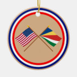 US and Seychelles Crossed Flags Ceramic Ornament