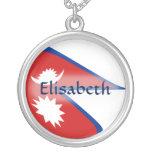 Nepal Flag + Name Necklace