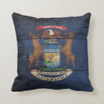 Michigan State Flag on Old Wood Grain Throw Pillow