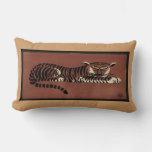 Tiger - Antiquarian, Colorful Book Illustration Lumbar Pillow