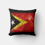 Weathered East Timor Flag Throw Pillow