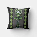 Jinxy Harlequin Green Jester Pixie Pillow
