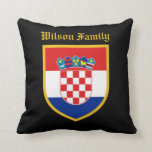 Croatia Flag Personalized Throw Pillow