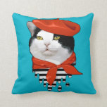 cat Frenchman Throw Pillow