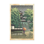 Udo Tower, Kumamoto Castle in rain Kawase Hasui Canvas Print