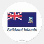 Falkland Islands Flag with Name Classic Round Sticker