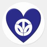 Fukui Prefecture Flag Heart Classic Round Sticker