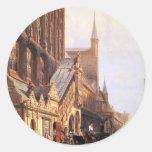 Cityhall in Lbeck by Cornelis Springer Classic Round Sticker