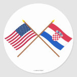 US and Croatia Crossed Flags Classic Round Sticker