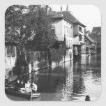 Boating on the river Gera at Erfurt Square Sticker