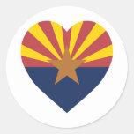 Arizona Flag Heart Classic Round Sticker