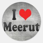 I Love Meerut, India Classic Round Sticker
