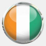Ivory Coast Round Flag in Glass Ball Classic Round Sticker