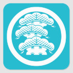Three-tiered pine with arashi L in circle Square Sticker