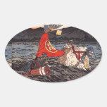 Kagesue, Takatsuna and Shigetada crossing the Uji Oval Sticker