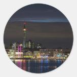 Dortmund, Germany skyline night Classic Round Sticker