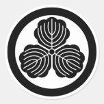 Three oak leaves in circle classic round sticker