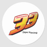 33 numbers classic round sticker