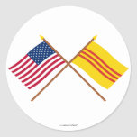 US and South Vietnam Crossed Flags Classic Round Sticker