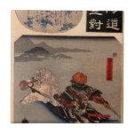 Sasaki Takatsuna fording the Uji river by Utagawa Tile