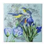 Vintage Floral Songbirds Apparel and Gifts Ceramic Tile