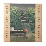 Udo Tower, Kumamoto Castle in rain Kawase Hasui Ceramic Tile
