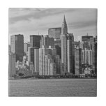 New York City Skyline From the East River B&W Tile