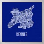 Rennes France Map Poster
