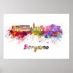 Bergamo skyline in watercolor poster