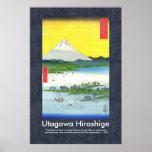 Scroll Pattern Hiroshige Pine Beach at Miho Poster