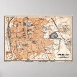Vintage Map of Darmstadt Germany (1905) Poster