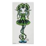 Jinxy Pixie Stick Green Jester Fairy Poster