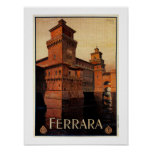 Vintage Ferrara Italian travel poster