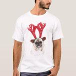 Embarrassed looking Pug wearing Reindeer Antlers T-Shirt
