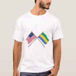 US and Gabon Crossed Flags T-Shirt