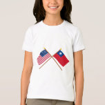 US and Taiwan Crossed Flags T-Shirt