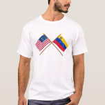 US and Venezuela Crossed Flags T-Shirt