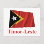 East Timor Waving Flag with Name in Portuguese Postcard
