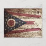 Ohio State Flag on Old Wood Grain Postcard