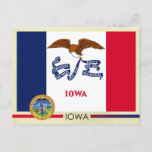 Iowa State Flag and Seal Postcard
