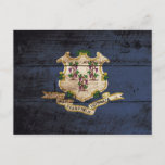 Connecticut State Flag on Old Wood Grain Postcard