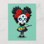 Sugar Skull Girl Playing Gabon Flag Guitar Postcard
