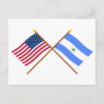US and Nicaragua Crossed Flags Postcard