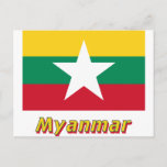 Myanmar Flag with Name  Postcard